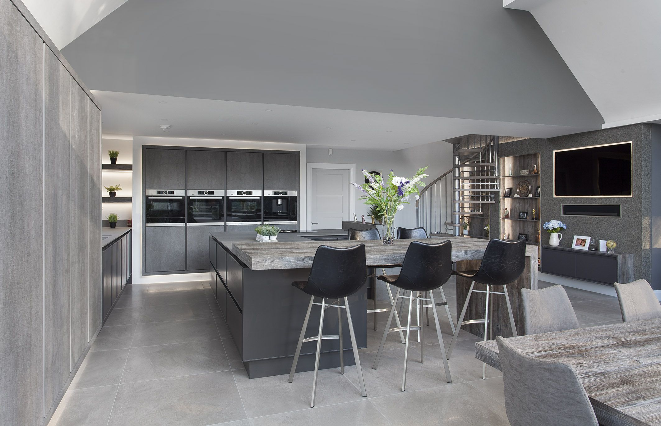 Dark grey & concrete ceramic kitchen, co Down, Northern