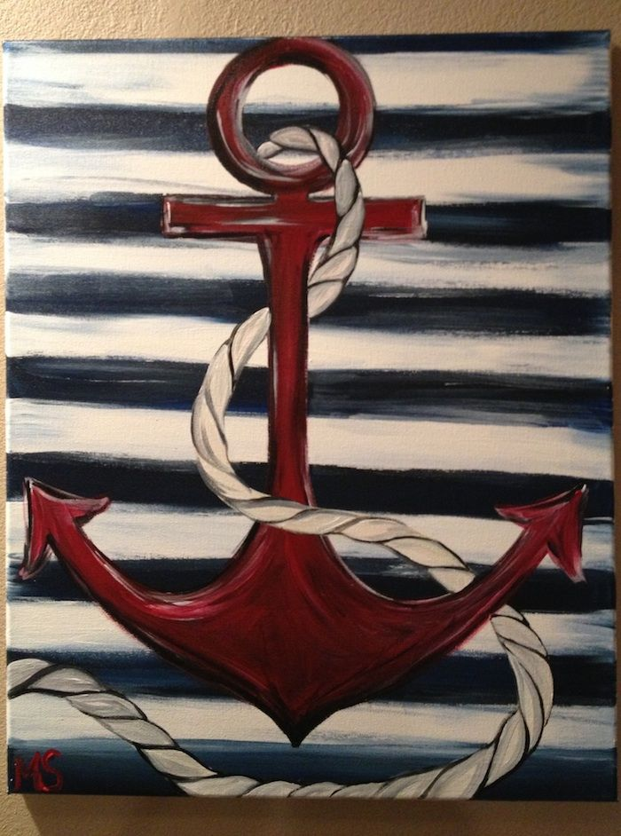 Anchor Painting With A Twist Google Search Nautical Painting Anchor Painting Painting Canvases