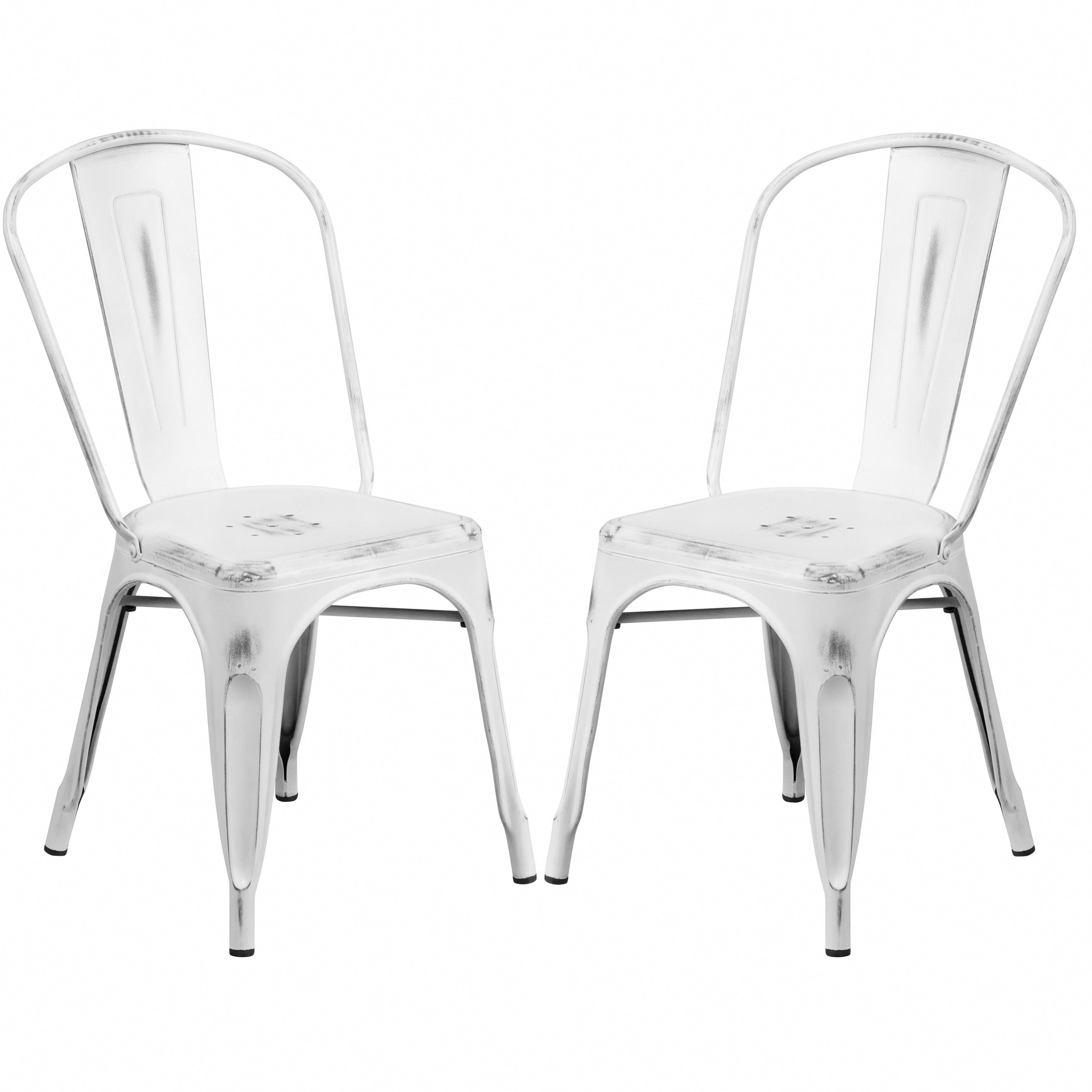 White distressed metal bistro style chair 4 chairs patio furniture metalpatiochairs