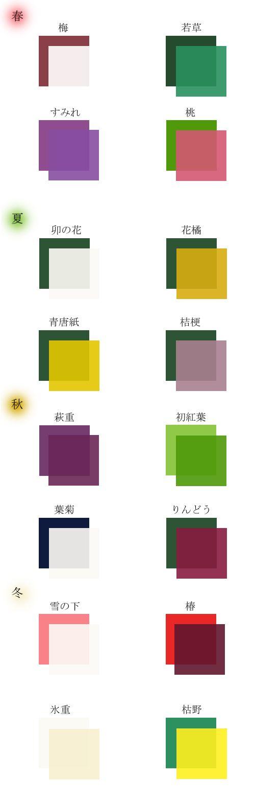 襲色目 kasane no irome kasane no irome is list of color combinations in wearing kimono in layers 和 デザイン 伝統色 デザイン