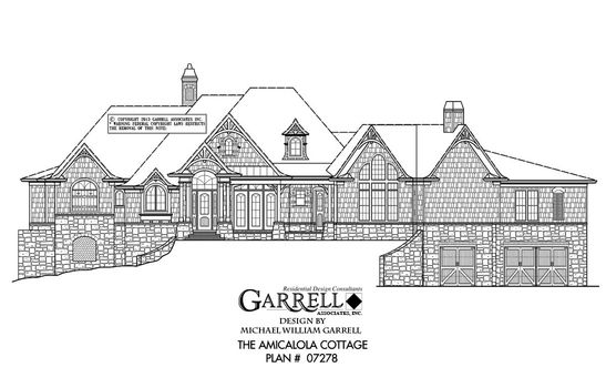 Amicalola Cottage Drive Under Plan 07278, Front Elevation ...
