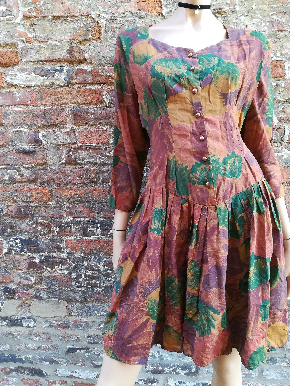 Vintage Topshop 90s Floral Print Dress With Drop Waist And Etsy Vintage Short Dress Vintage Topshop Grunge Dress