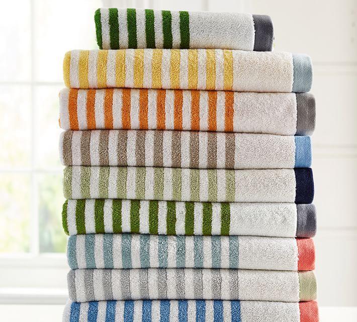 Marlo Stripe Organic Bath Towels Patterned Bath Towels Towel