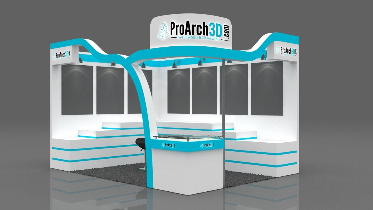 Exhibition Stall D Model Free Download : Creative meter one side open stall creativity t