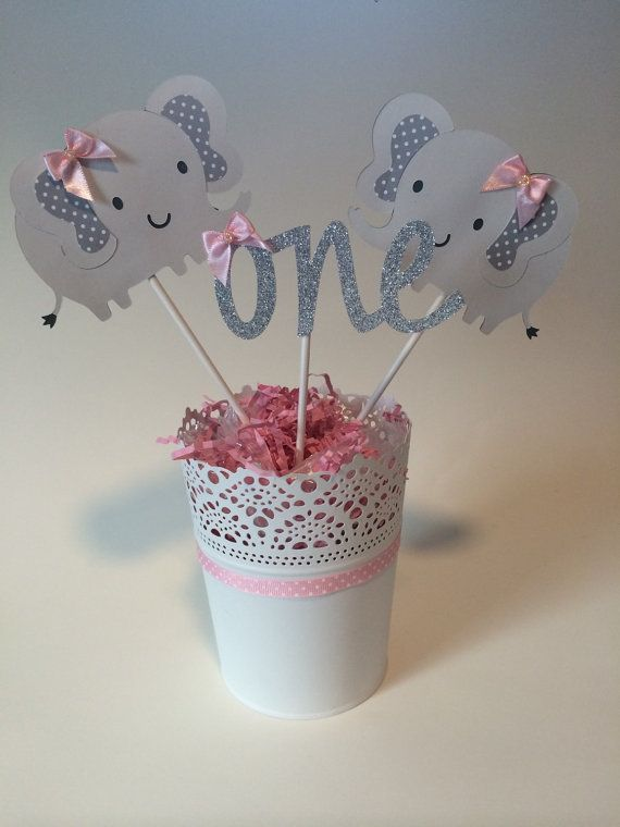 Pink and grey elephant centerpiece baby shower