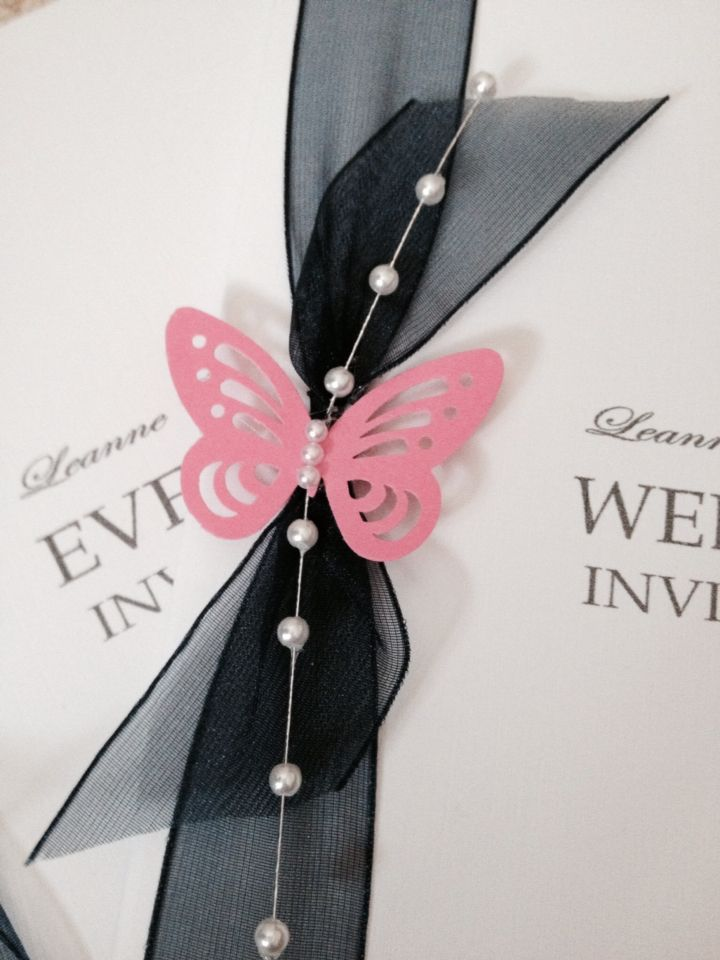 Wedding invites navy organza and cerise pink butterfly handmade by ...