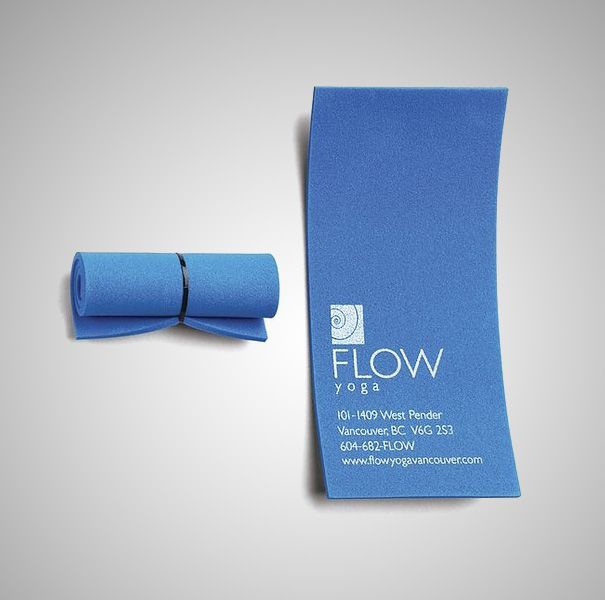 Flow Yoga Business Card - A simple, yet very creative business card for Vancouver yoga center. The card rolls just like a yoga mat.