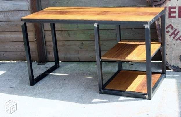 Bureau meuble industriel métal & iroko ameublement haute garonne