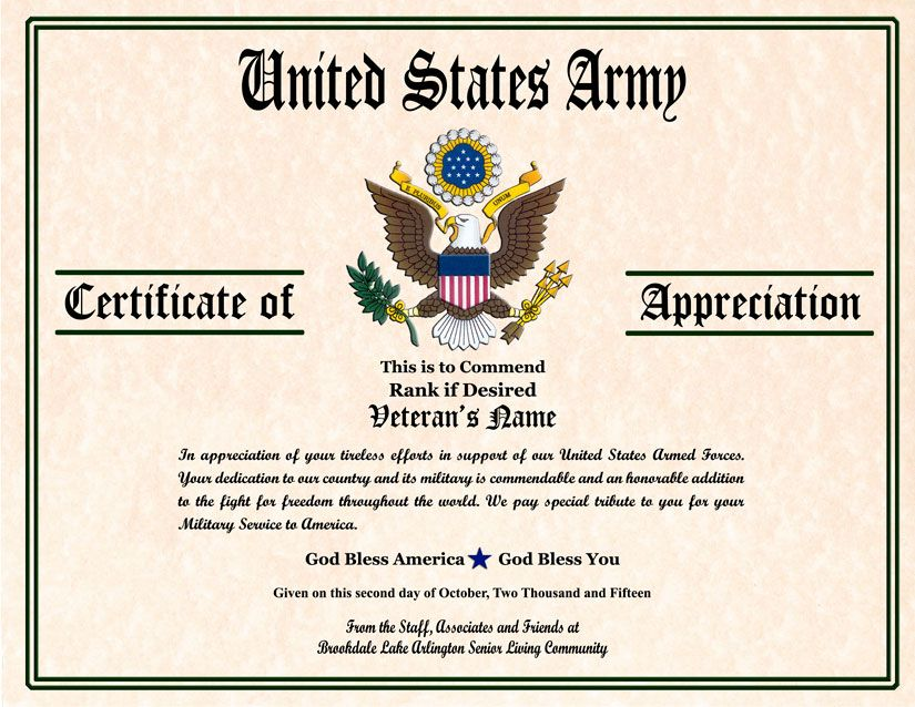 Military Veterans Appreciation Certificates  Veterans Day
