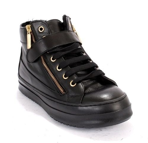 Black Leather / Shearling Lining Lace-Up / Side Zippers Ankle Booties / Sneakers  20% OFF- Code PINTEREST20