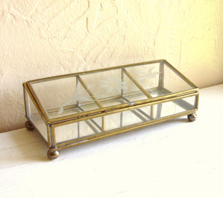 Vintage Gold Brass Metal Framed Glass Box Decorative Frosted Design