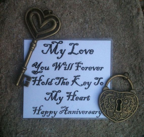 Bronze Key To My Heart Couples Key Chain Perfect For Our 8th