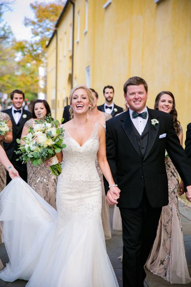 Elegant tulle and sparkle, fit and flair gown from Gown Boutique of Charleston by @essensedesigns. Gold and White themed #WilliamAikenHouse wedding by Charleston wedding photographer @dcubbagephoto