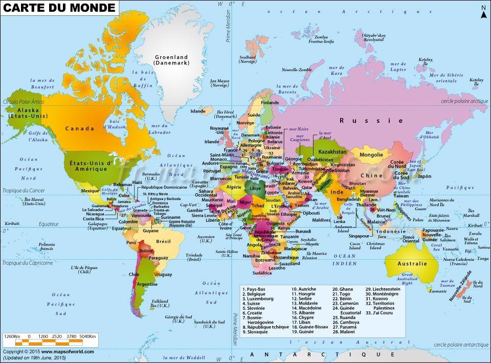 Carte du Monde, La Carte du Monde, Mappemonde | Carte du Monde