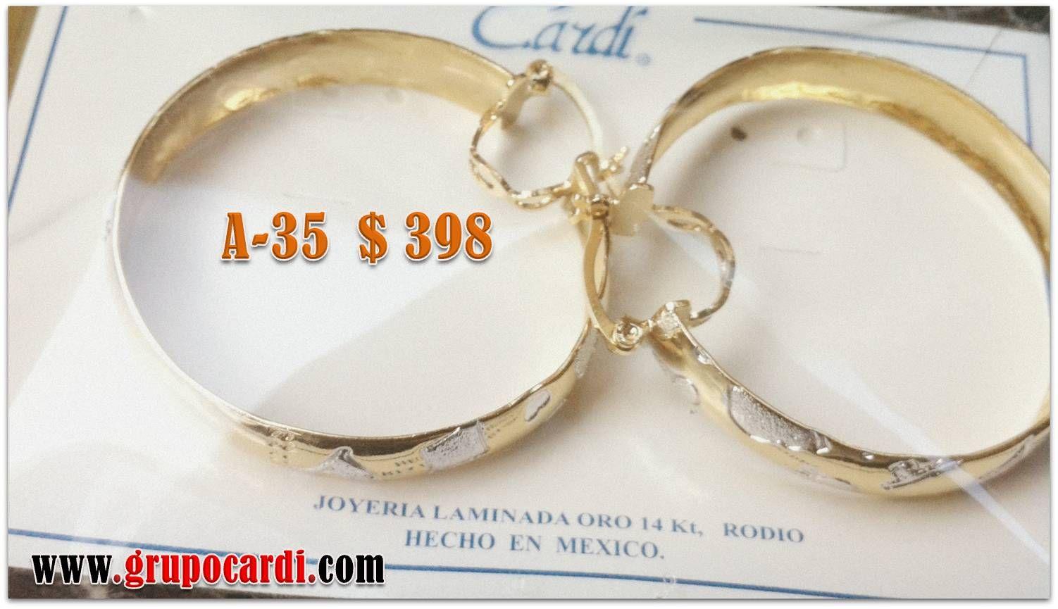 Arracada Oro Laminado Marca Cardí Codigo A-35 $ 398