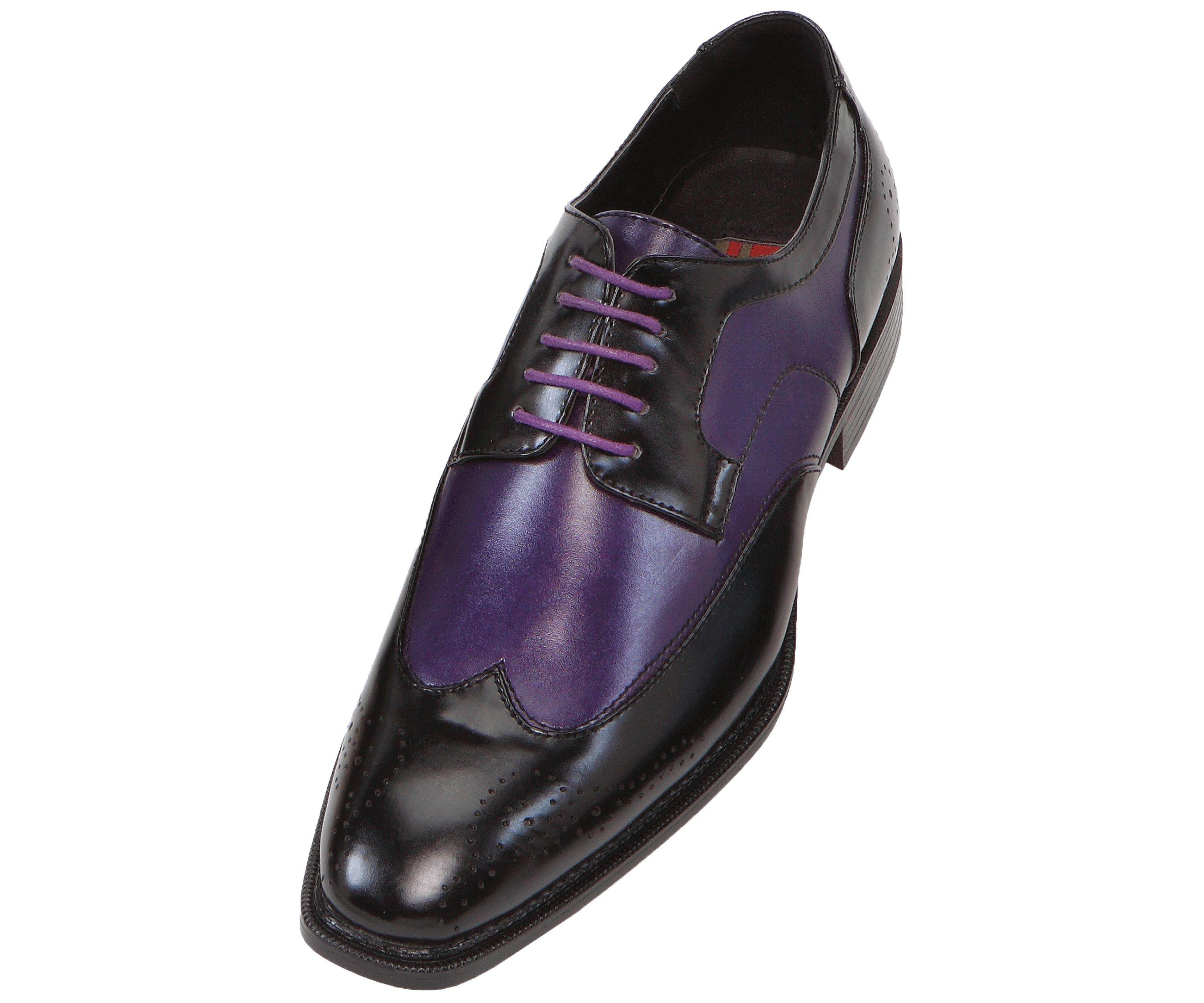 Black dress sandals for wedding - Bolano Mens Black Purple Oxford Two Tone Wingtip Dress Shoe Nia 049