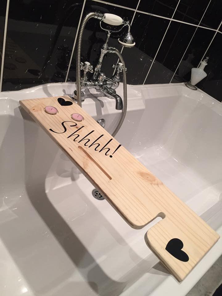 BathBuddie - Premium Wooden Bathtub Caddy Tray with Wine Holder ...