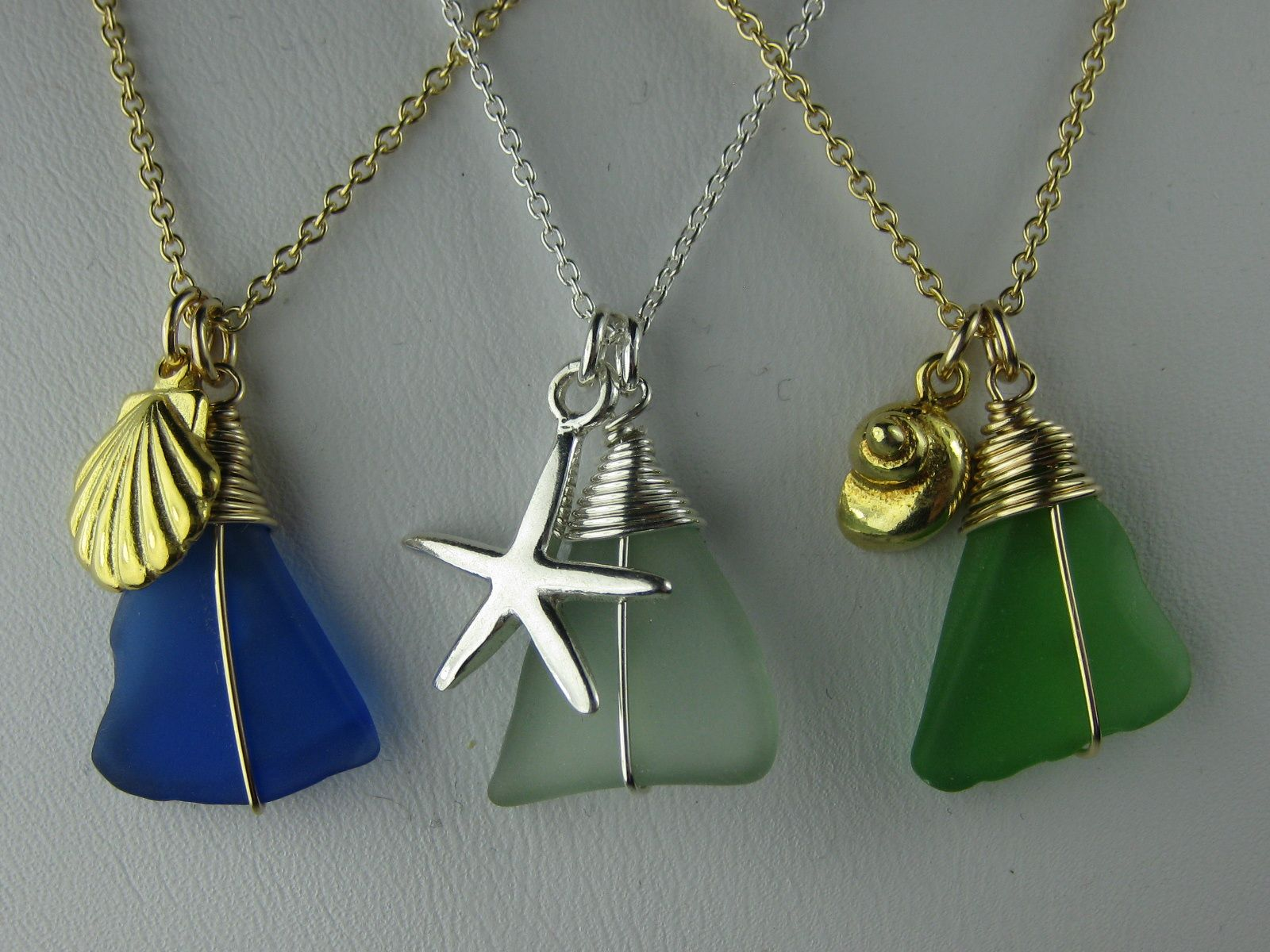 Sea Glass Charm Necklace Jeanne Ruland Jewelry Design Pinterest