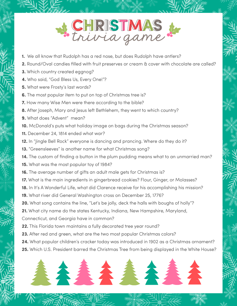 free christmas trivia game just download print and use for your upcoming christmas parties and get togethers