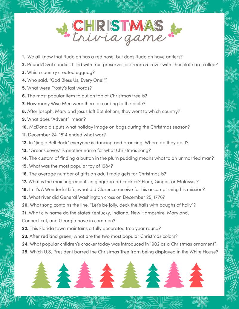 Free Christmas Trivia Game Christmas trivia, Christmas