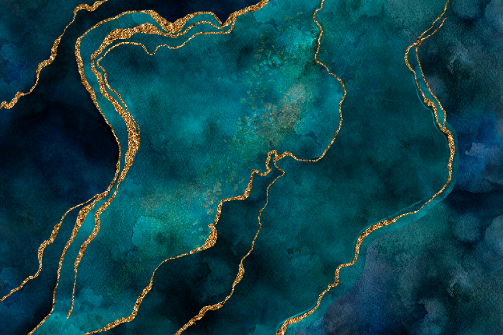 Teal And Gold Gemstone Wallpaper in 2020 Teal and gold