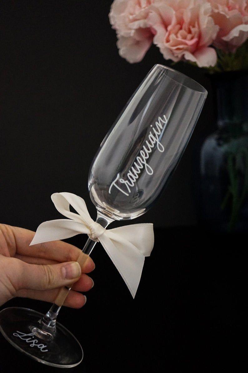 Individually Labeled Sparkling Wine Glass Sparkling Wine Glass Named Jga Sektglaser Trauzeugen Geschenk Geschenke Fur Brautjungfern