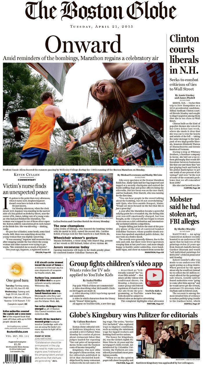 The Boston Globe for April 21, 2015, via Today's Front Pages