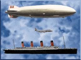 A Size Comparison Of The Hindenburg With A 747 And The Titanic