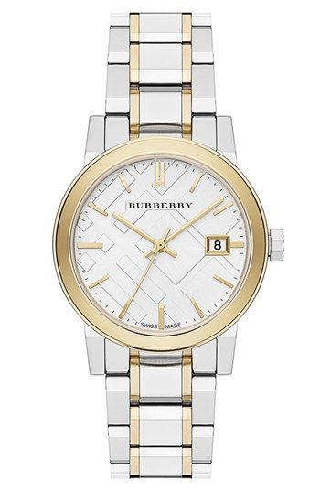 Burberry Medium Check Stamped Bracelet Watch 34mm