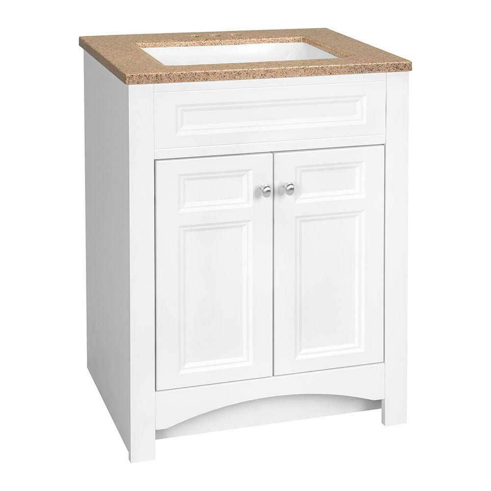 Glacier Bay Modular 24 5 In W Bath Vanity In White With Solid