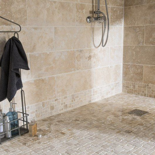Pierre naturelle sol et mur ivoire travertin x cm carrelage pinterest travertin - Carrelage pierre salle de bain ...