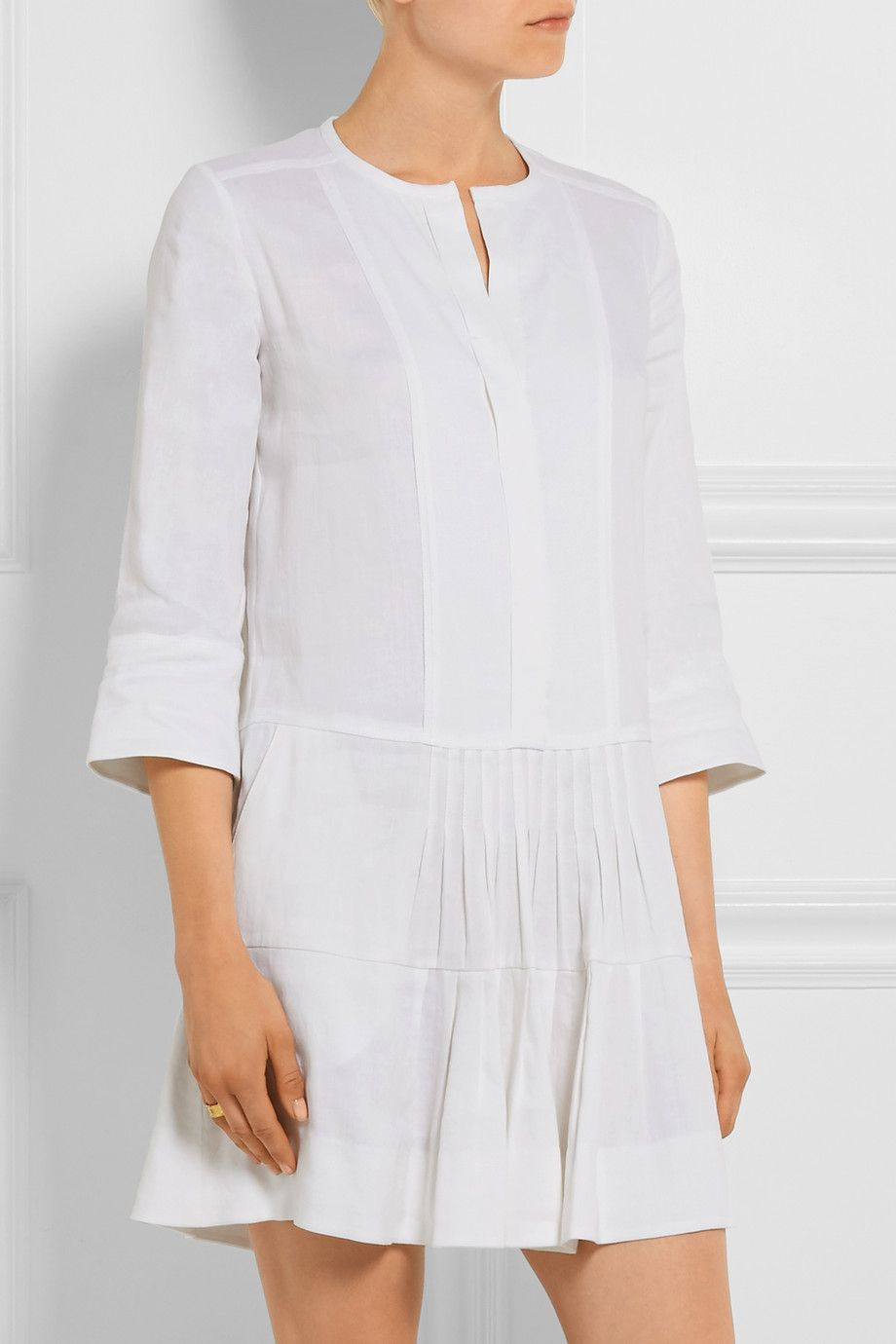Off White Pleated Stretch Linen Blend Mini Dress Vince White Dress Spring Linen Blend Mini Dress [ 1380 x 920 Pixel ]