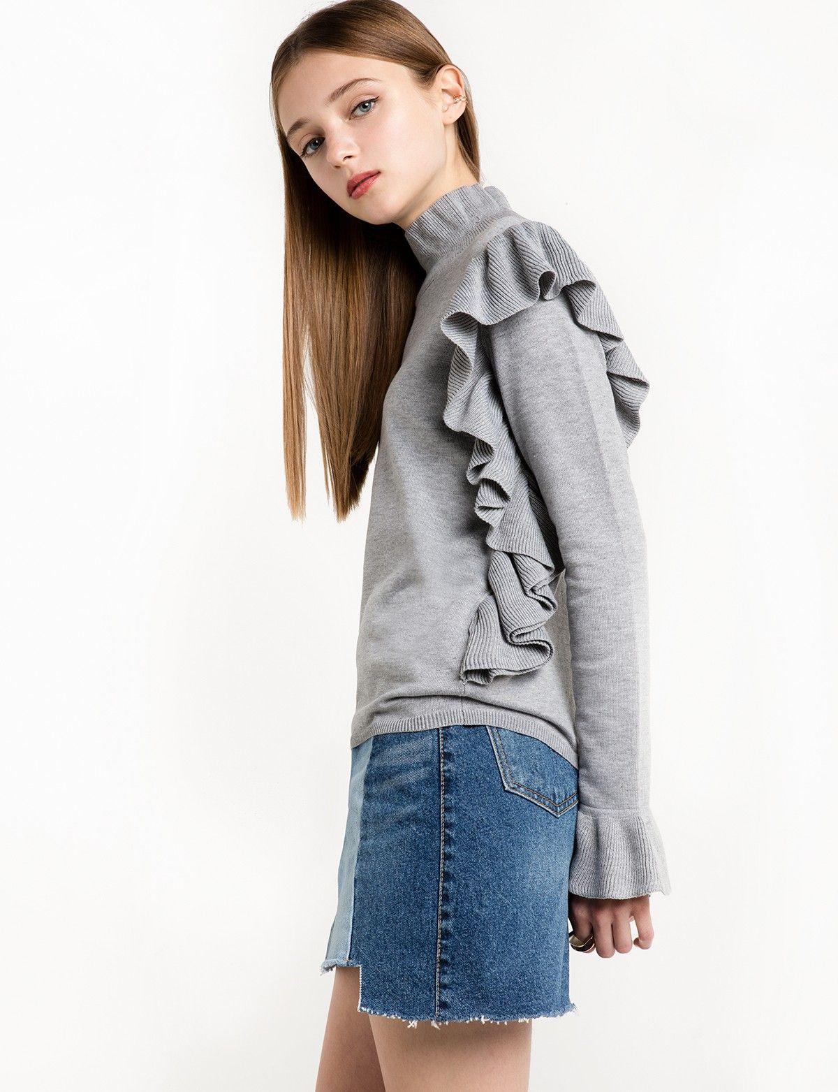 Mercer Grey Ruffled Sweater