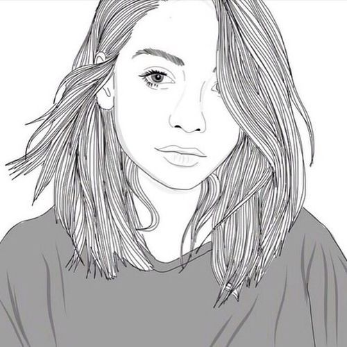 OUTLINE DRAWING OF GIRL WITH LONG HAIR TUMBLR - Google Search