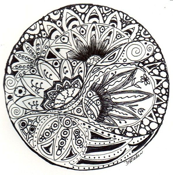 Zentangle flower | Abstract coloring pages, Doodle art, Art