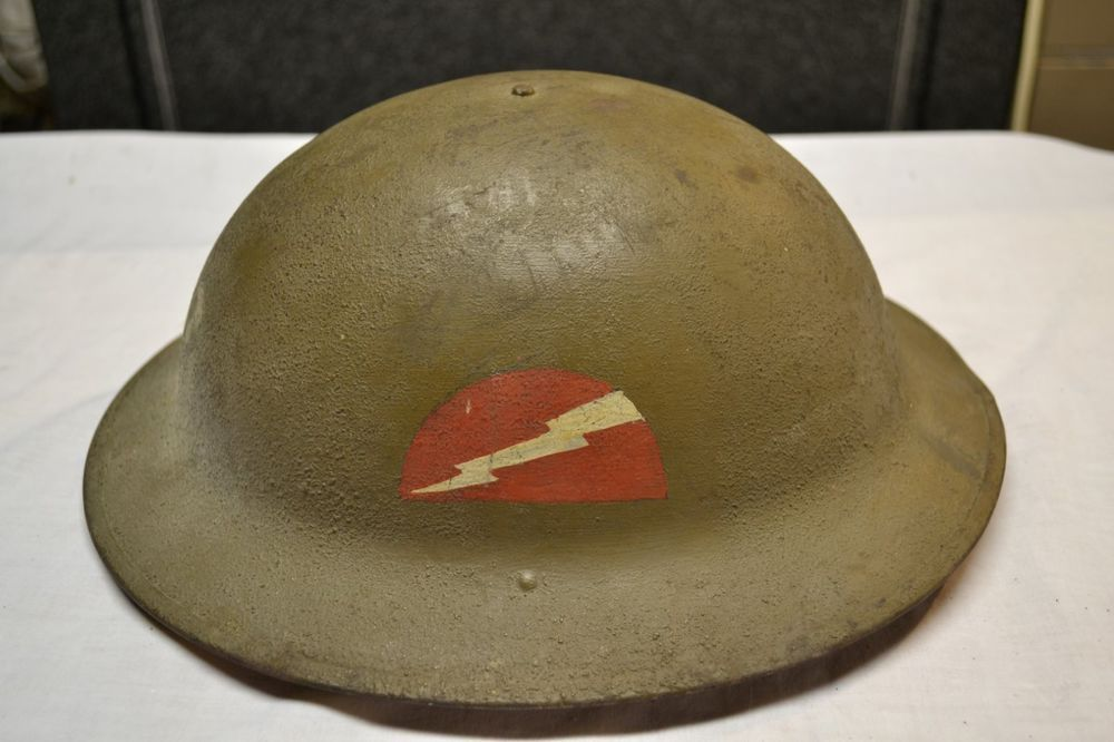 60eee34029854 WWI US 78th Division Lightning Bolt M1917 Doughboy Combat Helmet Soldier  Name