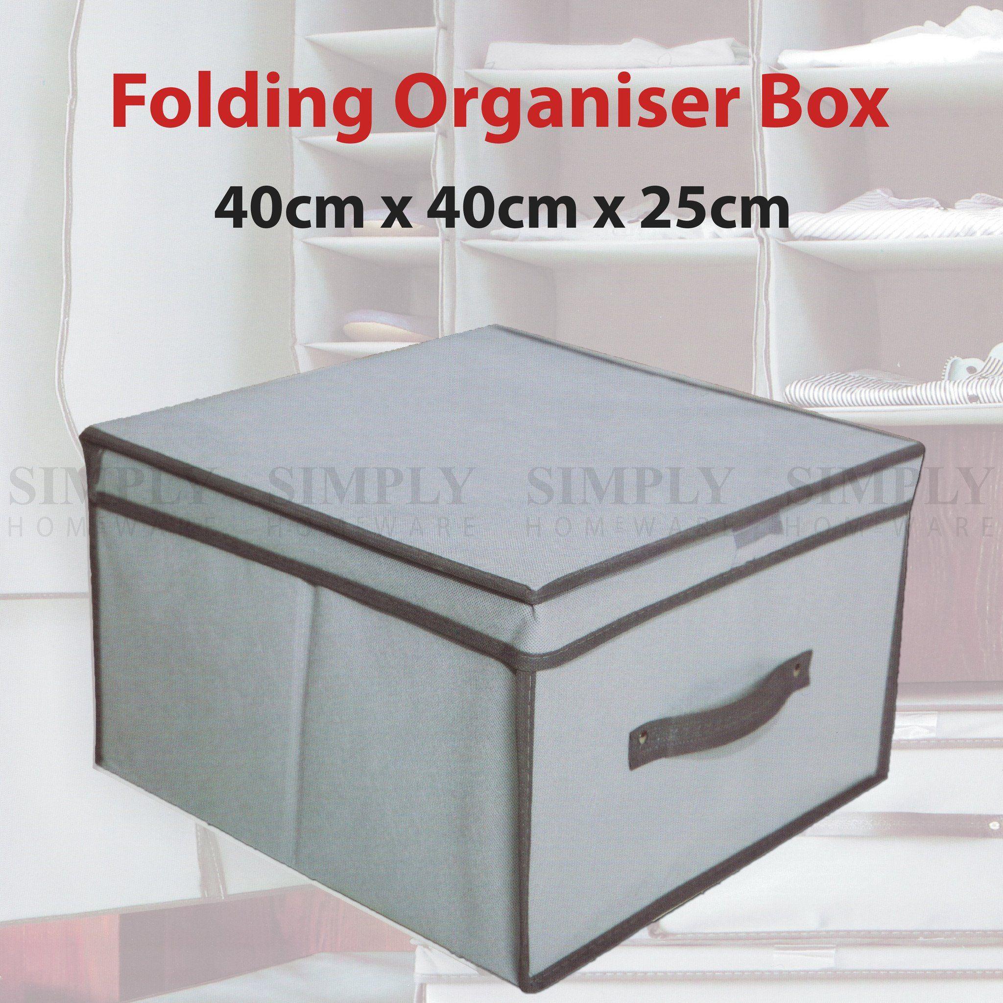 Folding Storage Box Basket Fabric Organiser Container Organizer Grey 40x40x25cm Organization Boxes Organize Fabric Storage Box