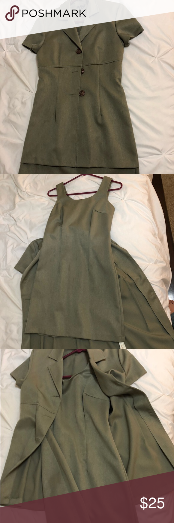 My Michelle 2 piece set 2 piece sage green dress with jacket. 100% polyester with tags still attached. My Michelle Dresses #sagegreendress