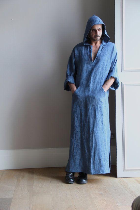 3bfe37bc9a Denim Blue pure linen men s kaftan. Hooded tunic. Winter soft cosy ...