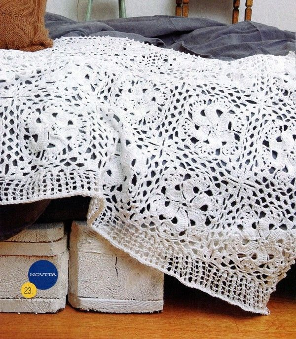 White Large Square Afghan free crochet graph pattern | Croche ...