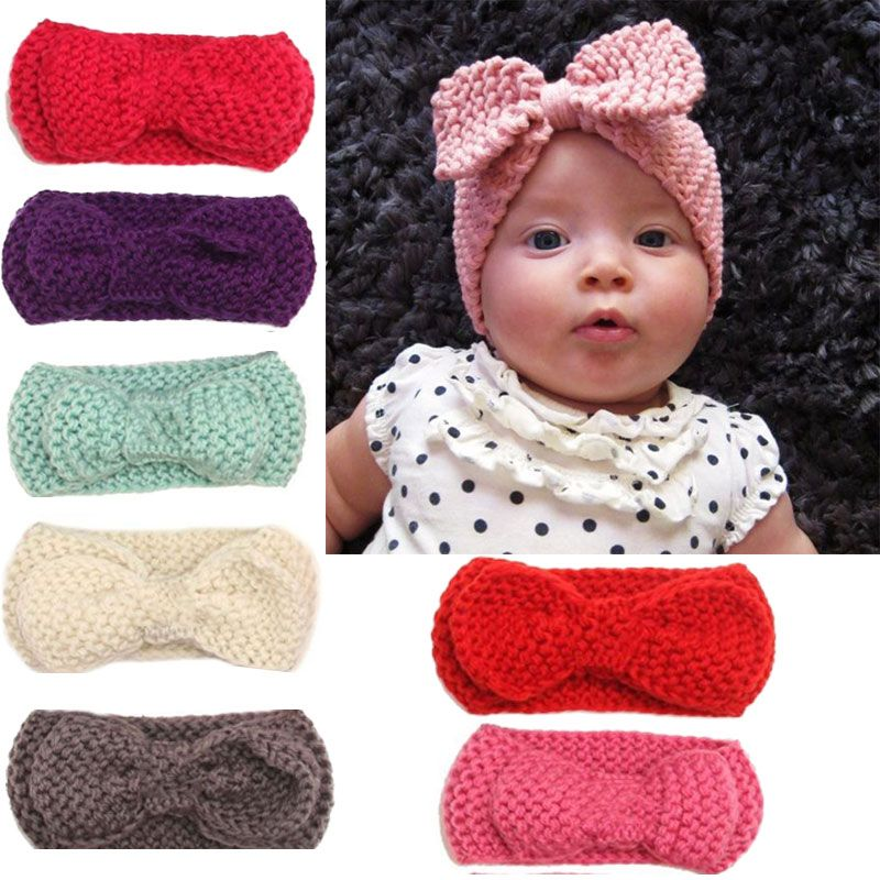 Newborn Mul-color Baby Kids Ear Warmer Hairband Bow Knot Headwrap ...