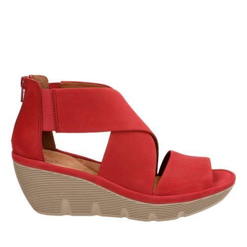 9aa5a2bb755 Clarene Glamor Red Nubuck womens-sandals-wedge