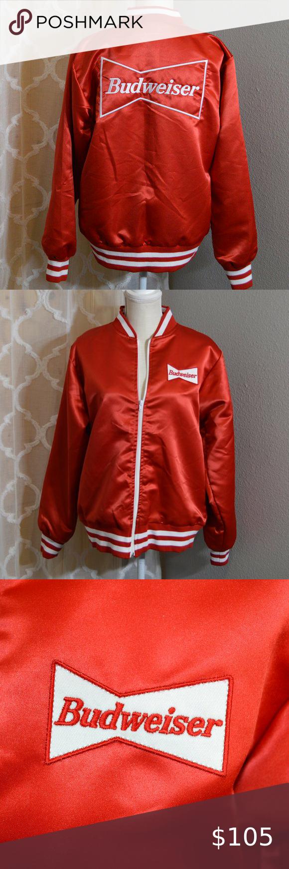 Vintage 1980s Budweiser Red Satin Bomber Jacket Bomber Jacket Vintage Satin Bomber Jacket Mens Leather Bomber Jacket [ 1740 x 580 Pixel ]