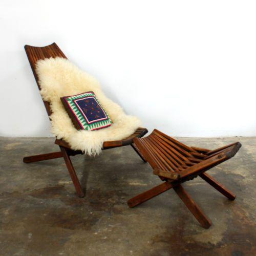 Mid Century Modern Teak Lounge Chair Amp Rare Ottoman Patio