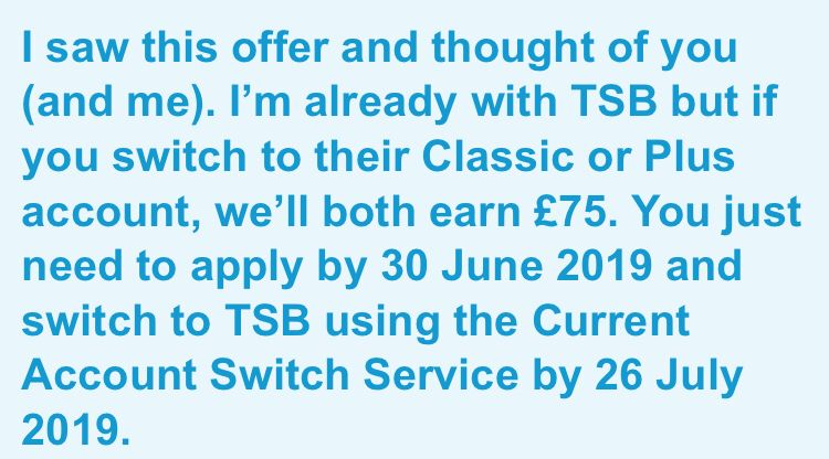 I Saw This Offer And Thought Of You And Me I M Already With Tsb