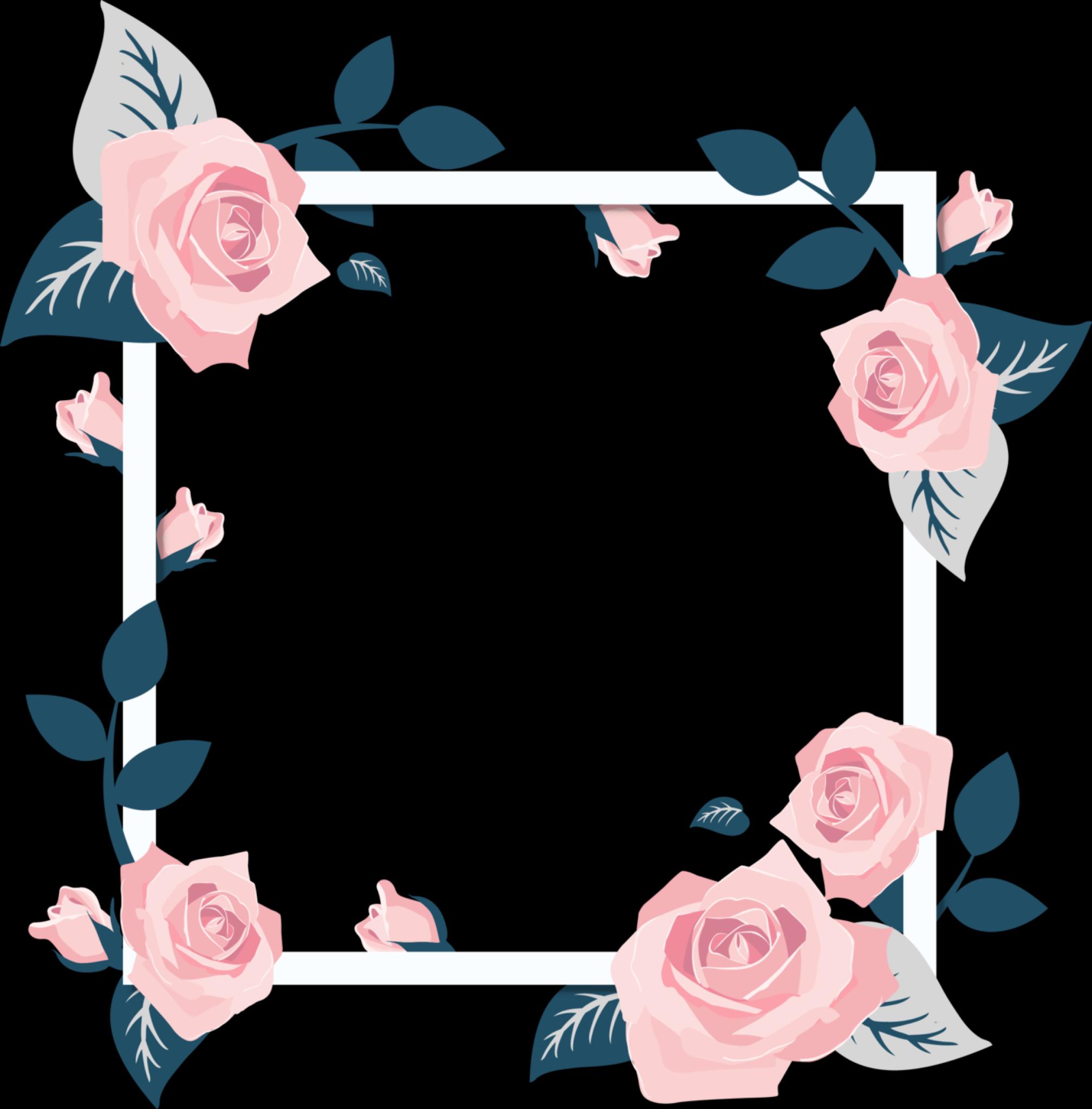 Frame Square Squareframe Flower Flowers Flowerframe White Whiteframe Roses Pink Blue Cute Aesthetic Overl Pola Bunga Kartu Bunga Kartu Pernikahan