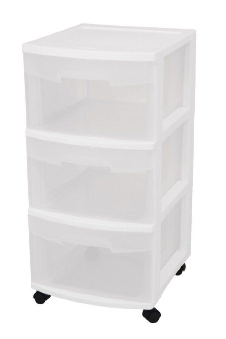 Sterilite 28308002 3 Drawer Cart, White Frame With Clear Drawers And Black  Casters, 4 Pack