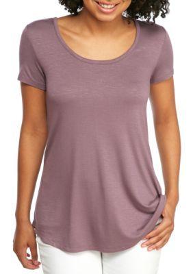 Pink Rose Girls' X Back Short Sleeve Top - Pioneer Purple - M