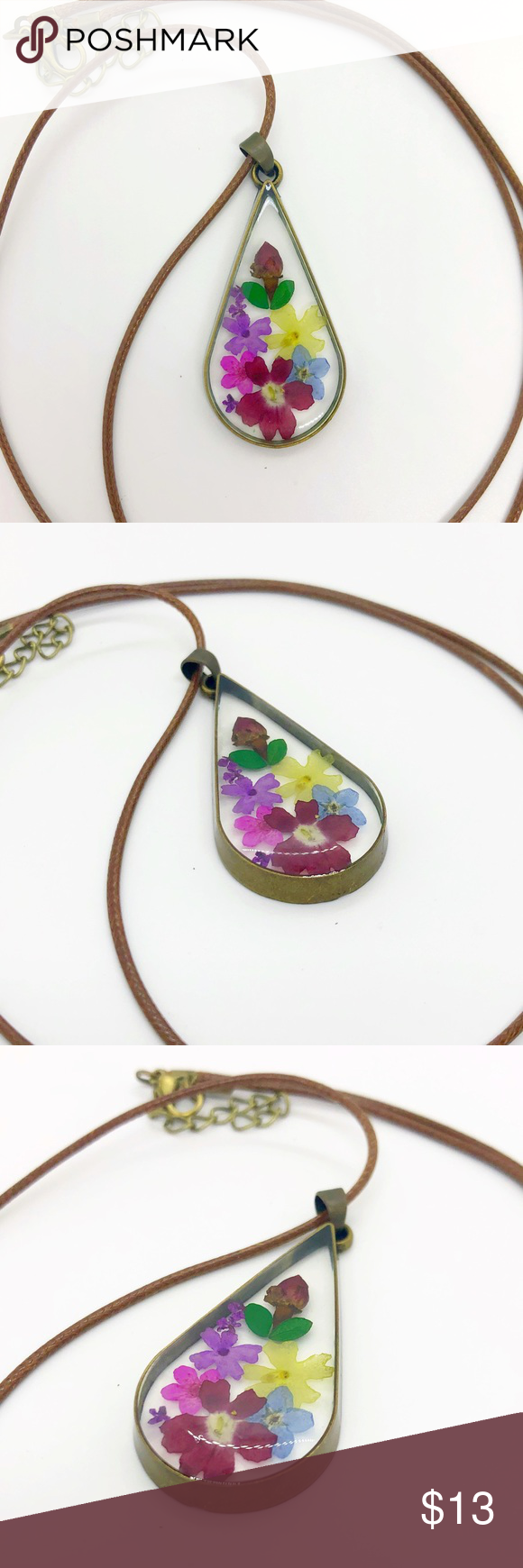Teardrop Pressed Flower Necklace Real Flowers Gift Love this teardrop design These necklaces are handmade with real pressed dried flowers encased in resin Each piece is s...