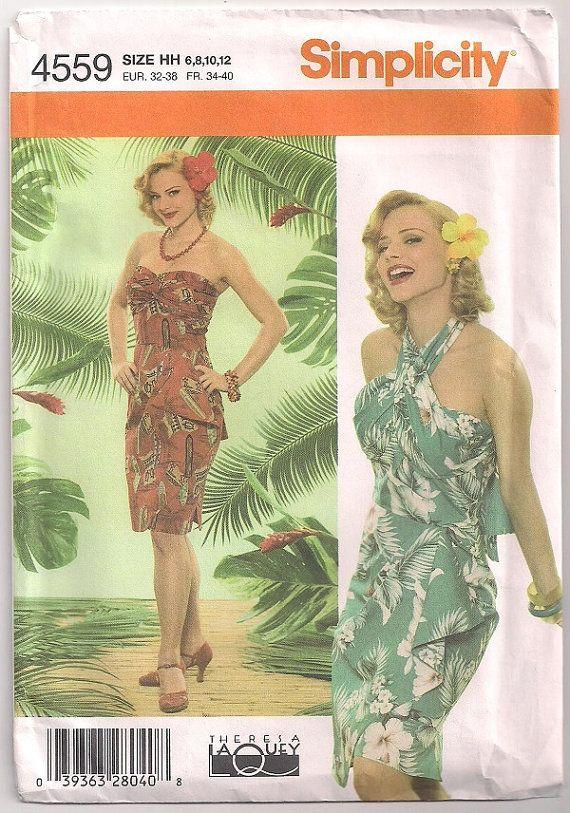 Laua Dress, Hawaiian Dress Simplicity 4559 Island Dress, Halter or ...
